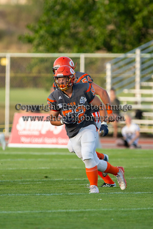 KELOWNA, BC - AUGUST 3:  Jack Proskow #52 of Okanagan Sun runs on the field against the Kamloops Broncos  at the Apple Bowl on August 3, 2019 in Kelowna, Canada. (Photo by Marissa Baecker/Shoot the Breeze)