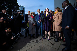 © Licensed to London News Pictures. 30/10/2019. London, UK. Leader of the Liberal Democrats Jo Swinson MP speaks to the media outside Parliament about the upcoming general election. MPs have voted in favour of a 12 December general election in order to break the deadlock in parliament over Brexit. Photo credit: Rob Pinney/LNP