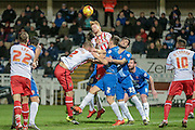 Stevenage attacker clears the ball from the Hartlepool penalty box inadvertently from the corner during the Sky Bet League 2 match between Hartlepool United and Stevenage at Victoria Park, Hartlepool, England on 9 February 2016. Photo by Mark P Doherty.