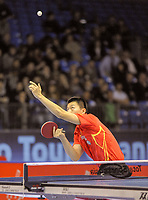 Long MA (CHN) the world #1, competes against  Hao WANG (CHN) the world #2, during the ITTF Table Tennis Tour Grand Finals, ExCel Centre,  London, England November 27, 2011. Long Ma went on to win the tournament beating Zhang Jike in the final.