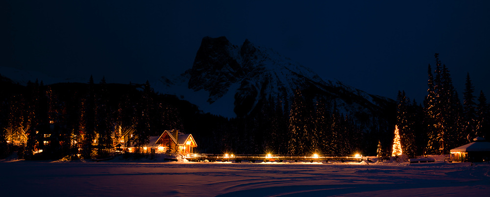 Christmas at the Emerald Lake Lodge, Mount Burgess in the background at dusk.