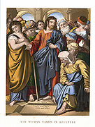 Jesus defending the woman taken in adultery against the Scribes and the Pharisees, saying: 'Let him that is without sin among you, first cast a stone at her'. John:8. Mid-19th century chromolithograph.