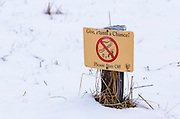 Meadow restoration sign in winter, Yosemite National Park, California USA