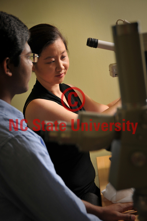 Microscopy & Surface Sciences Research Assistant Professor Eunkyoung Shim works on her research on Centennial Campus.