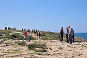 Many Israelis visit nature reserves during spring to enjoy the local wildflowers Photographed at Dor Habonim Beach Nature Reserve