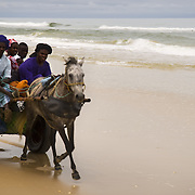 LOMPOUL (Senegal). 2007. Cart rolling down Lompoul´s  beach