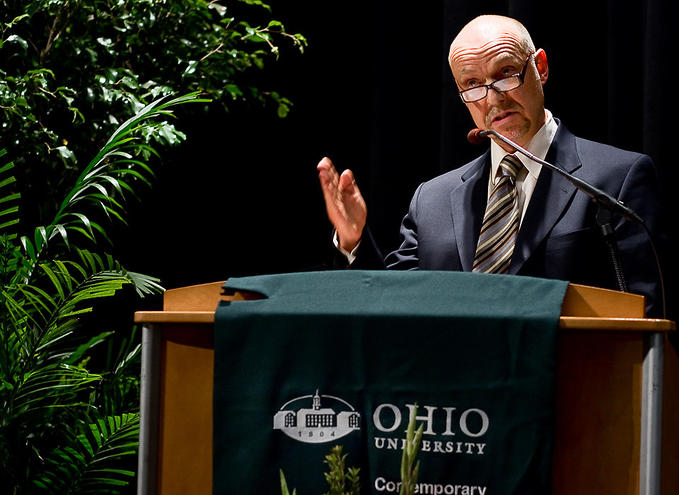 Foreign Affairs Analyst Dr. Steven Stoltenberg, delivers the keynote addressThursday in the Baker Center..photo by Kevin Riddell
