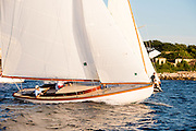 Mischief sailing in the Tuesday night Herreshoff S Class racing series.