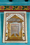 Glass painting of the shrine room at Nagore Durgha. In a private home in Nagore.<br /> Tamil Nadu. South India.
