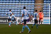 Colchester United goalkeeper Elliott Parish (33) saves Coventry City forward, on loan from Norwich City, Jacob Murphy (25) penalty during the Sky Bet League 1 match between Coventry City and Colchester United at the Ricoh Arena, Coventry, England on 29 March 2016. Photo by Simon Davies.