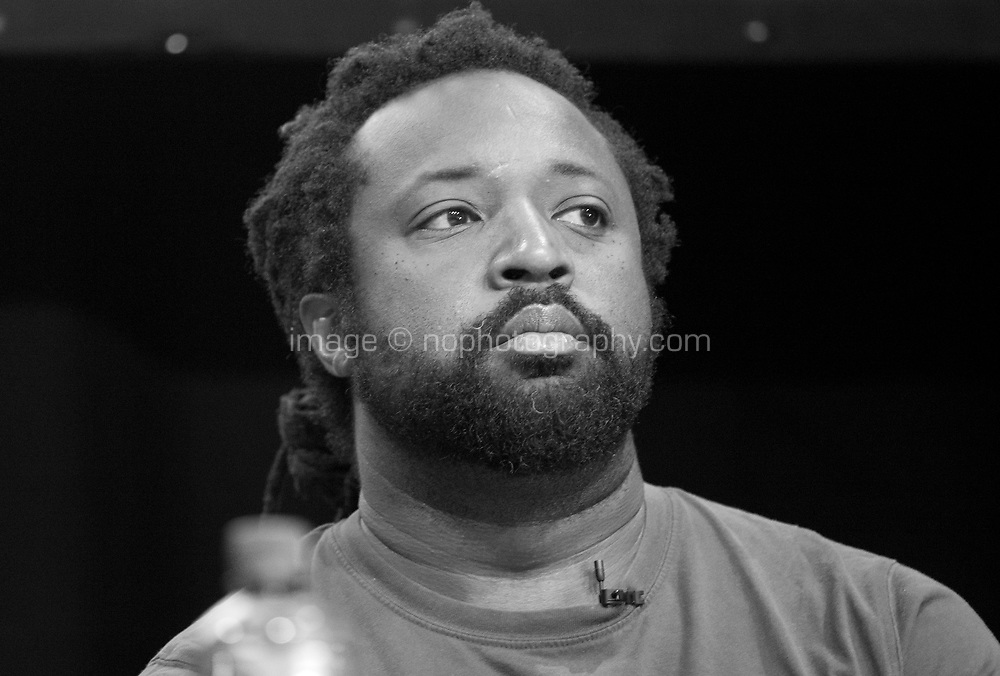Novelist Marlon James at the 'Is the Novel More Important than ever?' discussion at the Dalkey Book Festival, Dalkey, County Dublin, Ireland, Saturday 17th June 2017. Photo credit: Doreen Kennedy