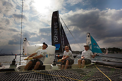 "© Sander van der Borch. Kiel - Germany, 27th of August 2009. iShares cup. Practice day...The first day of racing as part of the media day. the teams practice on the inland canal close to the city centre. Onboard the extreme 40 ""Ecover"". ."