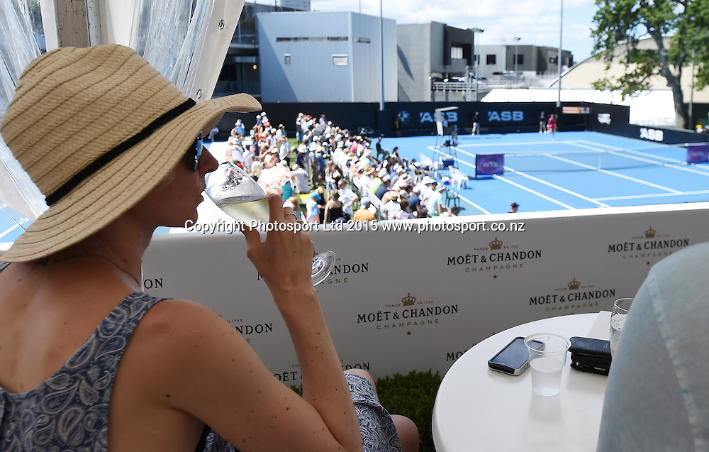 Moet and Chandon Hospitality on Day 3 at the ASB Classic WTA International. Auckland, New Zealand. Wednesday 7 January 2015. Copyright photo: Andrew Cornaga/www.photosport.co.nz