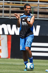 August 21, 2010; Santa Clara, CA, USA;  Newly aquired San Jose Earthquakes midfielder Geovanni Deiberson Maurico (77) warms up before the game against the Los Angeles Galaxy at Buck Shaw Stadium.