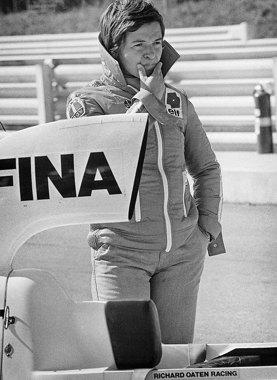 Italian Formula One driver Lella Lombardi, here in 1975, competed in 17 total Grand Prix events and driving the Lavazza March 751, became the first woman Formula One driver to have a top six points-awarded finish in a World Championship race, during the rain-shortened 1975 Spanish Grand Prix.<br />