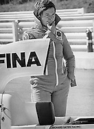 Italian Formula One driver Lella Lombardi, here in 1975, competed in 17 total Grand Prix events and driving the Lavazza March 751, became the first woman Formula One driver to have a top six points-awarded finish in a World Championship race, during the rain-shortened 1975 Spanish Grand Prix.<br /> <br /> She also started the NASCAR Firecracker 400 at Daytona in 1977. She passed away with cancer in Milan at age 50, in 1992.