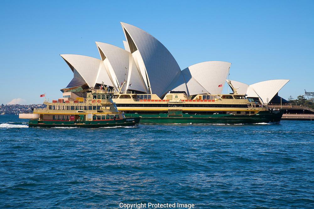 Sydney  Opera House with Sydney ferries crossing.