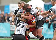 Gareth O&rsquo;Brien and Jake Emmitt and Ashton Sims of Toronto Wolfpack  tackle Kieran Dixon of London Broncos during the Super 8s Qualifiers Million Pound Game at Lamport Stadium, Toronto, Canada<br /> Picture by Stephen Gaunt/Focus Images Ltd +447904 833202<br /> 07/10/2018