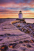 "One of the prettiest spots in Maine is Bug Light Park in South Portland. There is an everyman quality to this little piece of heaven, overlooking Portland Harbor with stunning views of the city skyline. The centerpiece of the park is this little gem, built in 1875 in a beautiful Greek architectural style. At only 26 feet tall, the Portland Breakwater Light is affectionately called ""Bug""."
