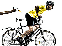 one  man exercising doping sport concept on white background