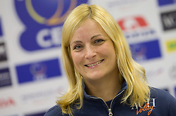 Doctor Eva Topole at press conference of volleyball club ACH Volley before new season 2010/2011, on November 5, 2010, in Ljubljana, Slovenia. (Photo by Vid Ponikvar / Sportida)