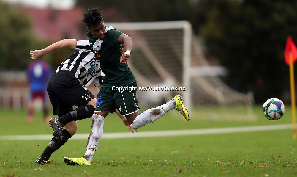 A cheeky little back kick from Bay's Altaff Sheik nets his 2nd goal of the match. 2016 Chatham Cup, Round Three, Manuaku City v Bay Olympic, Walter Massey Park Auckland, Saturday 25th June 2016. Photo: Shane Wenzlick / www.phototek.nz