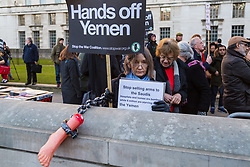 Protesters demonstrate on Whitehall in London on behalf of Yemen and against the visit to the UK by protest against Saudi Crown Prince Mohammad Bin Salman. London, March 07 2018.
