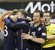 Craig Wighton and Matt Lockwood congratulate Jim McAlister after his second goal  - Raith Rovers v Dundee,  SPFL Championship at Starks Park<br /> <br />  - &copy; David Young - www.davidyoungphoto.co.uk - email: davidyoungphoto@gmail.com