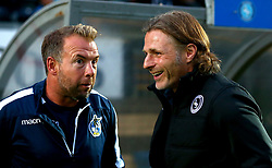 Wycombe Wanderers manager Gareth Ainsworth chats with Bristol Rovers assistant manager Marcus Stewart - Mandatory by-line: Robbie Stephenson/JMP - 29/08/2017 - FOOTBALL - Adam's Park - High Wycombe, England - Wycombe Wanderers v Bristol Rovers - Checkatrade Trophy