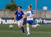 Emily Hollinshead (Everton Ladies) and Nicki Gears (Durham Womens FC) compete for the ball during the FA Women's Super League match between Durham Women FC and Everton Ladies at New Ferens Park, Belmont, United Kingdom on 30 August 2015. Photo by George Ledger.