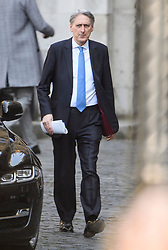 © Licensed to London News Pictures. 11/04/2019. London, UK. Chancellor PHILIP HAMMOND is seen leaving Parliament following a statement by the Prime Minister. British PM Theresa May was last night granted an extension to the date the UK will leave the EU, until October 31st of this year. Photo credit: Ben Cawthra/LNP