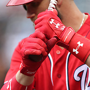 NEW YORK, NEW YORK - July 10: Bryce Harper #34 of the Washington Nationals preparing to bat during the Washington Nationals Vs New York Mets regular season MLB game at Citi Field on July 10, 2016 in New York City. (Photo by Tim Clayton/Corbis via Getty Images)