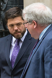 Downing Street, London, June 2nd 2015. Transport Secretary Patrick McLoughlin, followed by Welsh Secretary Stephen Crabb leaves 10 Downing Street following the weekly meeting of the Cabinet.