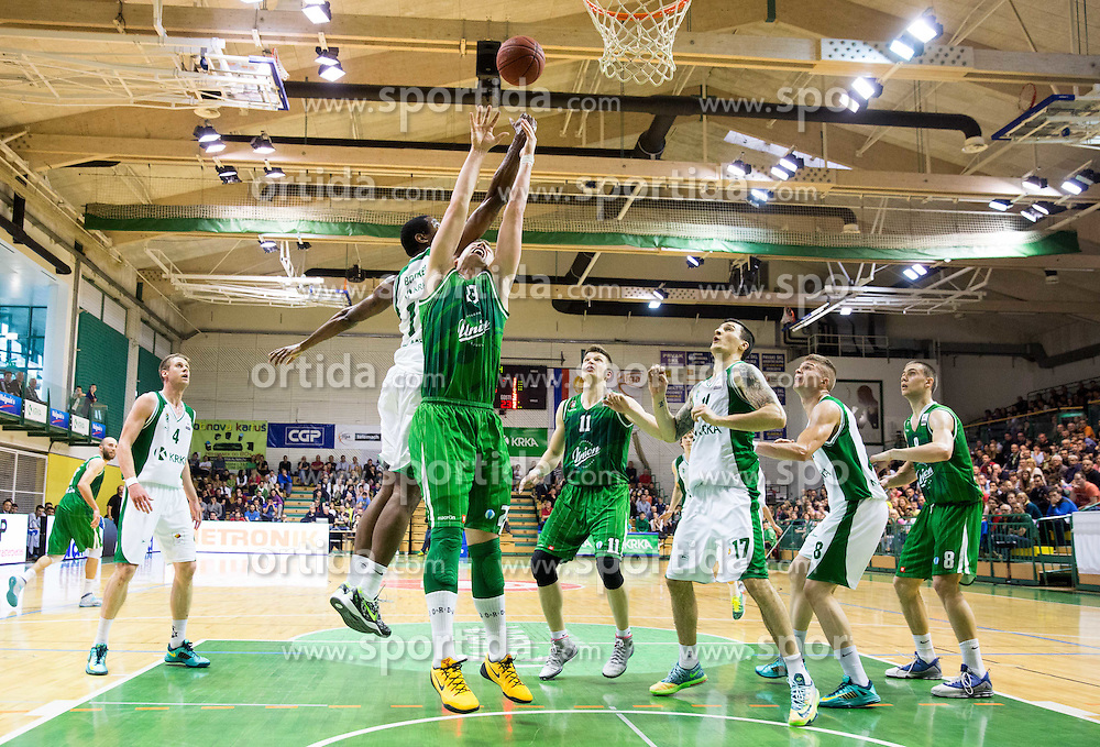 Christopher Booker of Krka vs Alen Omic of Union Olimpija during basketball match between KK Krka and KK Union Olimpija in 10th Round of Slovenian National Championship 2013/14, on April 28, 2014 in Dvorana Leona Stuklja, Novo mesto, Slovenia. Photo by Vid Ponikvar / Sportida