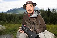 Photographer Takeshi Hanatani by the Kenai National Wildlife Refuge, Alaska, USA.
