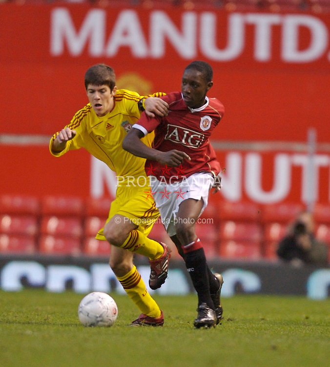 Manchester, England - Thursday, April 26, 2007: Liverpool's Jimmy Ryan and Manchester United's Daniel Welbeck during the FA Youth Cup Final 2nd Leg at Old Trafford. (Pic by David Rawcliffe/Propaganda)
