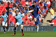 Chelsea midfielder Jorginho (5) controlling the ball in the air during the FA Community Shield match between Chelsea and Manchester City at Wembley Stadium, London, England on 5 August 2018.