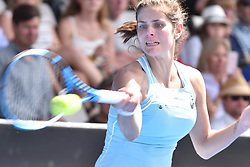 January 7, 2018 - Auckland, Auckland, New Zealand - Julia Goerges of German plays a forehand in her final match against Caroline Wozniacki of Denmark during the WTA Women's Tournament at ASB Centre Count in Auckland, New Zealand on Jan 7, 2018.  She wins the match, beating Caroline Wozniacki 6-4 7-6. (Credit Image: © Shirley Kwok/Pacific Press via ZUMA Wire)