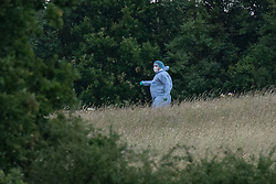 © Licensed to London News Pictures. 07/06/2020. London, UK. A forensic investigator walks down a hill in Fryent Country Park. The bodies of two women have been found in Fryent Country Park in Wembley. Metropolitan Police Service were called at 13:08 BST, Officers found two unresponsive woman, they were pronounced dead at the scene. Photo credit: Peter Manning/LNP