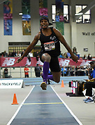 Feb 10, 2018; Boston, Massachussetts, USA; Chris Carter (USA) wins the triple jump at 54-8 1/4 (16.67m) during the New Balance Indoor Grand Prix at Reggie Lewis Center.