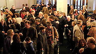 A glimpse of the crowd in the lobby before the Los Lobos show at the the Victoria Theatre, Saturday night, March 17th.