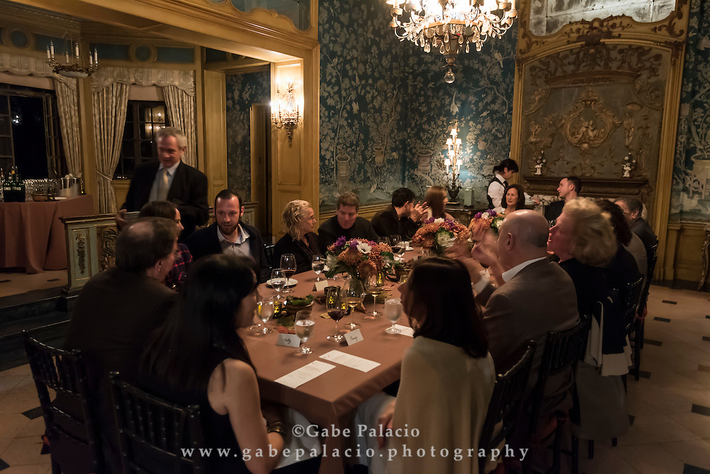 A dinner party in the formal dining room of the Rosen House at Caramoor in Katonah New York on November 7, 2015. <br /> (photo by Gabe Palacio)