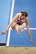 Teresa Dobija of Poland competes in women's long jump qualification during the IAAF Athletics World Indoor Championships 2014 at Ergo Arena Hall in Sopot, Poland.<br /> <br /> Poland, Sopot, March 8, 2014.<br /> <br /> Picture also available in RAW (NEF) or TIFF format on special request.<br /> <br /> For editorial use only. Any commercial or promotional use requires permission.<br /> <br /> Mandatory credit:<br /> Photo by &copy; Adam Nurkiewicz / Mediasport