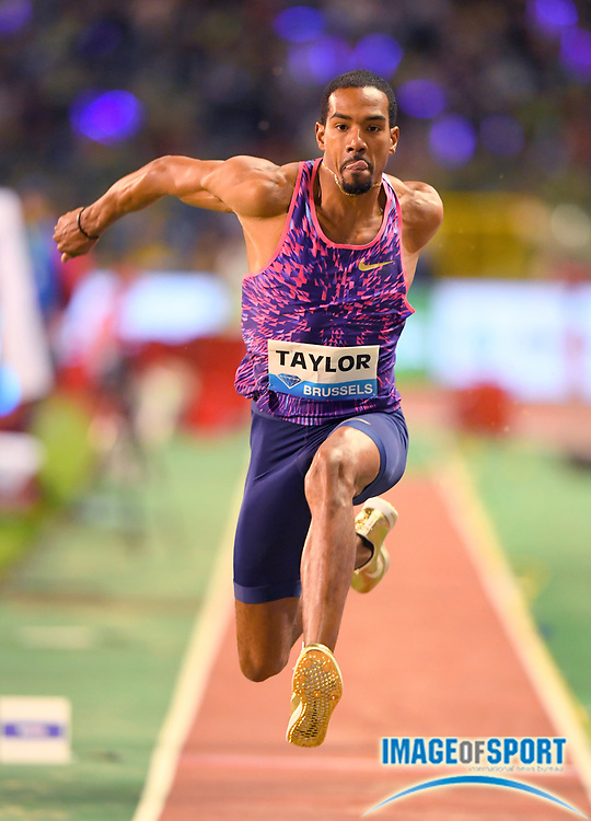 Christian Taylor (USA) wins the triple jump at 57-4¾ (17.49m) during the 42nd Memorial Van Damme in an IAAF Diamond League meet at King Baudouin Stadium in Brussels, Belgium on Friday, September 1, 2017. (Jiro Mochizuki/Image of Sport)