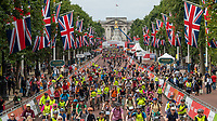 A view of the riders as they cycle up The Mall, overlooking Buckingham Palace, as part of the Prudential RideLondon FreeCycle 29/07/2017<br />
