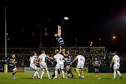 Matt Garvey of Bath Rugby rises high to win lineout ball - Mandatory byline: Patrick Khachfe/JMP - 07966 386802 - 10/10/2015 - RUGBY UNION - The Recreation Ground - Bath, England - Bath Rugby v Exeter Chiefs - West Country Challenge Cup.