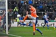 Gary Madine (30) of Blackpool is denied a goal during the EFL Sky Bet League 1 match between Bristol Rovers and Blackpool at the Memorial Stadium, Bristol, England on 15 February 2020.