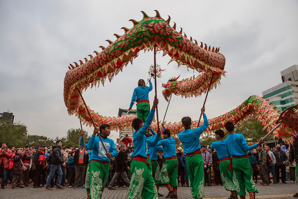 Feats of balance and skill are on display during a dragon dance.