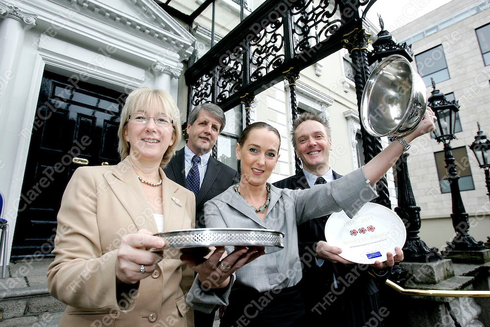 Minister Mary Hanafin and Pat Kiely, MD of AA Ireland with Simon and Freddie Haden, second generation owners of Gregans Castle Hotel of The Burren, Ballyvaughan.&Ecirc; Simon holds an AA 3 Rosette Plate presented to him by Minister Hanafin at the AA Hospitality Awards 2010 outside the Mansion House Dublin on Thursday, October 28.<br /> Minister Mary Hanafin and Pat Kiely, MD of AA Ireland with Simon and Freddie Haden, second generation owners of Gregans Castle Hotel of The Burren, Ballyvaughan.&nbsp; Simon holds an AA 3 Rosette Plate presented to him by Minister Hanafin at the AA Hospitality Awards 2010 outside the Mansion House Dublin on Thursday, October 28.