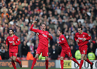 Photo: Lee Earle.<br /> Liverpool v Manchester United. The FA Cup. 18/02/2006. Liverpool's Peter Crouch (C) celebrates after scoring the winning goal.